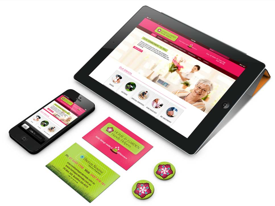 branding website display on tablet, mobile phone, printed cards and buttons