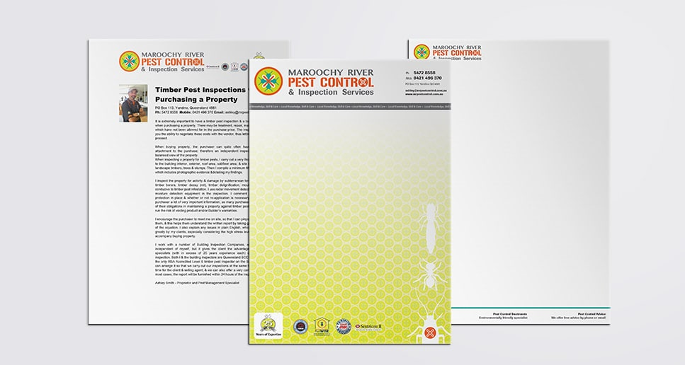 Pest Control stationery design green and orange