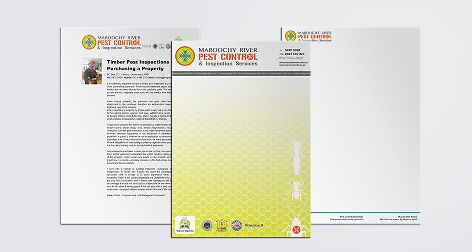 Pest Control stationery design green and orange