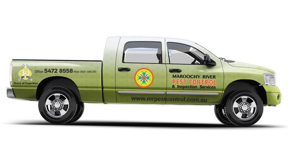 pest control branded sign vehicle