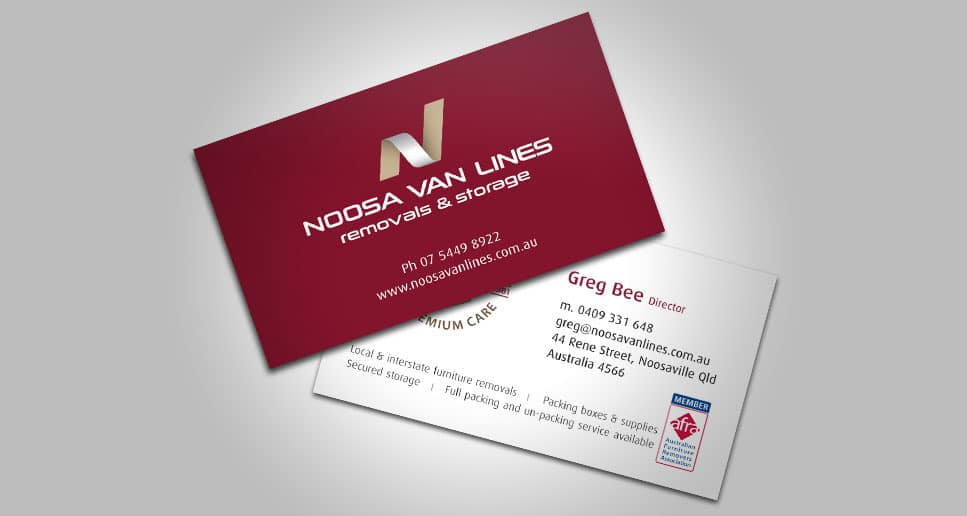noosa van lines business card design