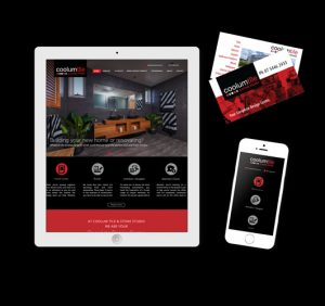 business cards sample and website display on tablet and mobile phone